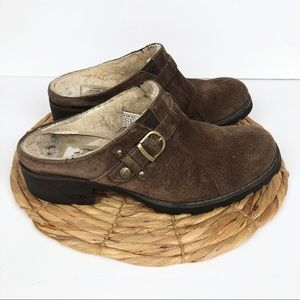 Ugg Lila Nubuck Brown Suede Leather Clog Size 8